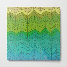 Random Chevron Stripes in Gold Green and Blue Metal Print