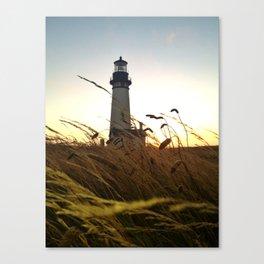 Yaquina Bay Lighthouse at sunset Canvas Print