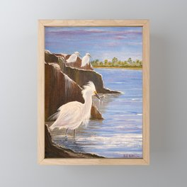 Snowy Egrets - The Expert Fisherman Framed Mini Art Print