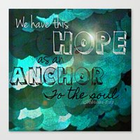 bible verse Canvas Prints featuring Anchors- Bible Verse by Mermaid94