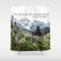 tolkien Shower Curtains featuring Alpine Wildflowers Tolkien Quote  by Elliott's Location Photography