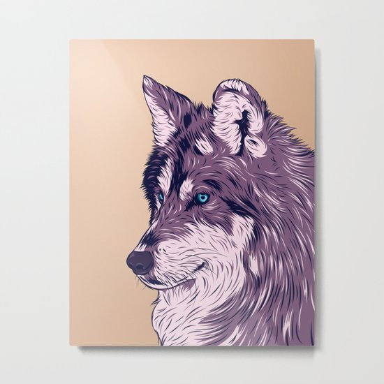 Blue eyed wolf Metal Print