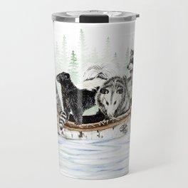 """ Critter Canoe "" wildlife rowing up river Travel Mug"