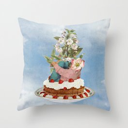 Cherry On Top / collage / moon water Throw Pillow