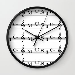Music typography Wall Clock