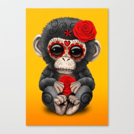 Red and Yellow Day of the Dead Sugar Skull Baby Chimp Canvas Print