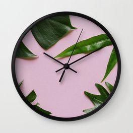 Tropical Palm Leaf Pink Background Wall Clock