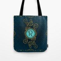 monogram Tote Bags featuring Monogram R by Britta Glodde