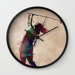 Golf player art 2 Wall Clock