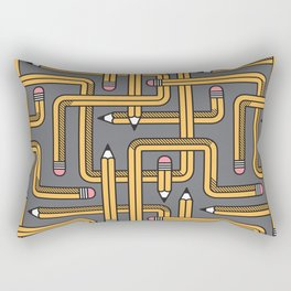 Pencil Maze Pattern pastel grey yellow Rectangular Pillow