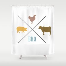 BBQ Hipster Logo Shower Curtain