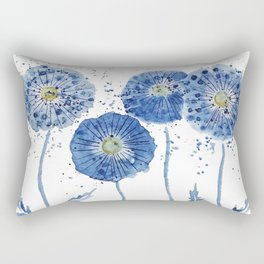 four blue dandelions watercolor Rectangular Pillow