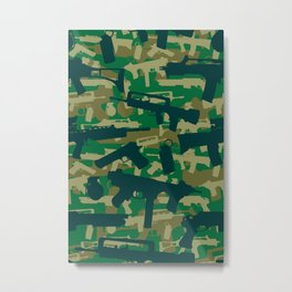 Military Camouflage Neck Gator Green Camo Weapons Metal Print