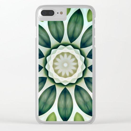 Foliage Greens Flower Kaleidoscope Clear iPhone Case