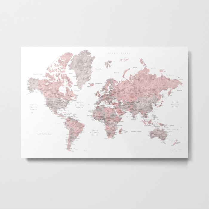 Dusty pink and grey detailed watercolor world map Metal Print