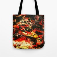 camp Tote Bags featuring Camp Fire by James Peart