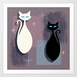 Jazzy Midcentury Modern Black And White Abstract Cats Art Print