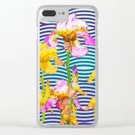 Colorful Iris Water Garden Art Pattern Clear iPhone Case