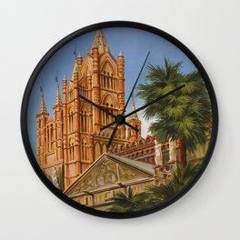 vintage Palermo Sicily Italian travel ad Wall Clock