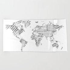 world map music vintage white Beach Towel