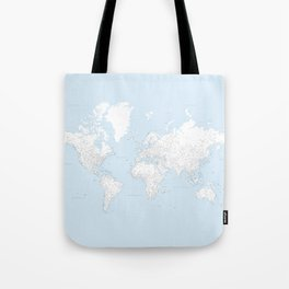 World map, highly detailed in light blue and white, square Tote Bag