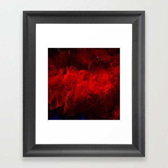 Red And Black Abstract Gothic Glam Chic Framed Art Print