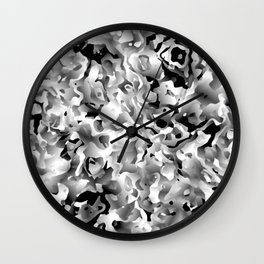 Liquid Flowers Black and White Wall Clock