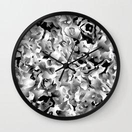 Liquid Flowers Black and White Wall Clock