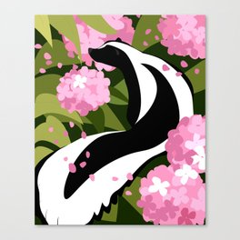 Springtime Skunk Among the Flowers Canvas Print
