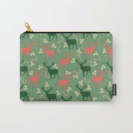 Hand painted Christmas green coral deer candy pattern Carry-All Pouch