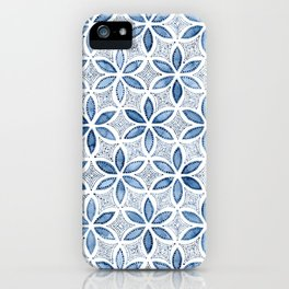 Indigo Retro Flower iPhone Case
