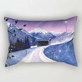 Mountains and Fields Watercolor Rectangular Pillow