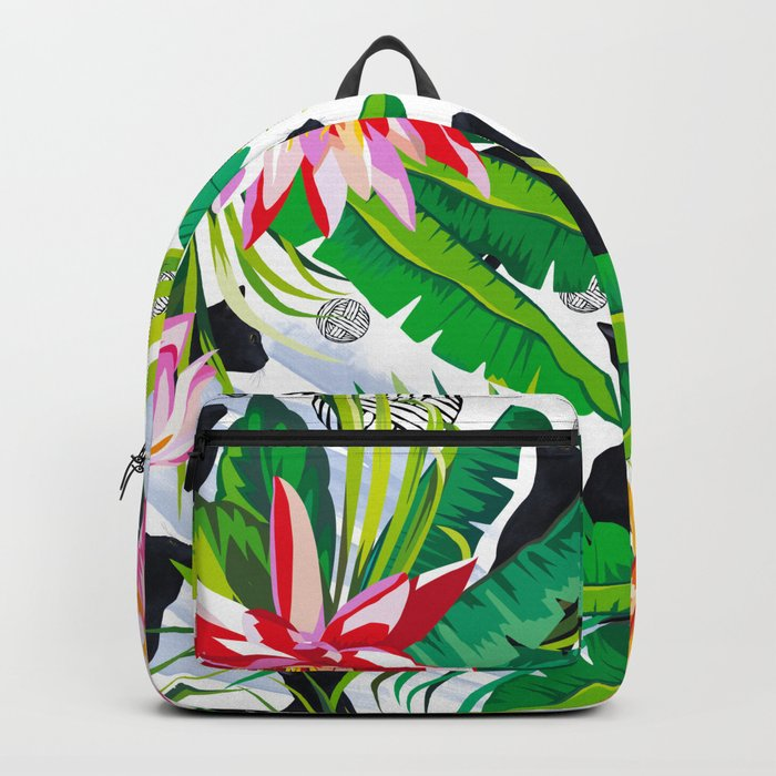 Pattern Cats between plants Backpack
