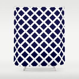 Dark Navy Blue and White Grill Pattern Shower Curtain