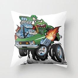 Seventies Green Hot Rod Funny Car Cartoon Throw Pillow