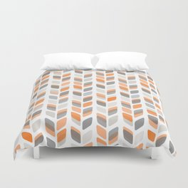 Modern Rectangle Print with Retro Abstract Leaf Pattern Duvet Cover