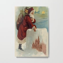 Santa Stepping Into A Chimney With Gifts  Metal Print