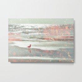BIRDIE WALKING ON THE BEACH IN A GOLDEN PINK SUNSET Metal Print