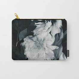 White peonies on black Carry-All Pouch