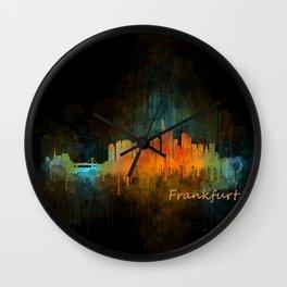 Frankfurt am Main, City Cityscape Skyline watercolor art v4 Wall Clock