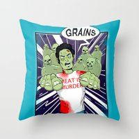 vegetarian Throw Pillows featuring Once a vegetarian... by OneAngryBear