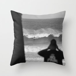 Massive wave with surfer Throw Pillow