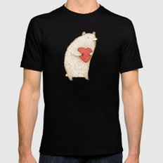 Bear with Heart MEDIUM Mens Fitted Tee Black