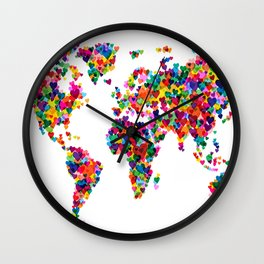 Love Hearts Map of the World Map Wall Clock