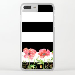 Poppies and Stripes Clear iPhone Case