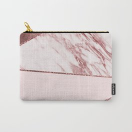 Spliced mixed pinks rose gold marble Carry-All Pouch
