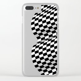 Wavy checkered racing flag, black and white Clear iPhone Case