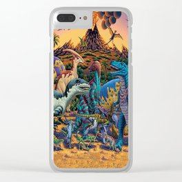 Dinosaurs flee the volcano Clear iPhone Case