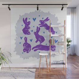 Bunny love - Purple Carrot edition Wall Mural