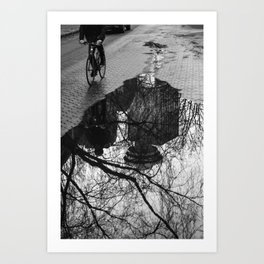 Vancouver after the rain, street photography print, urban black and white art Art Print